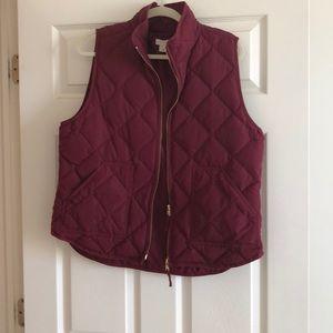 J Crew maroon puffer vest-size XL